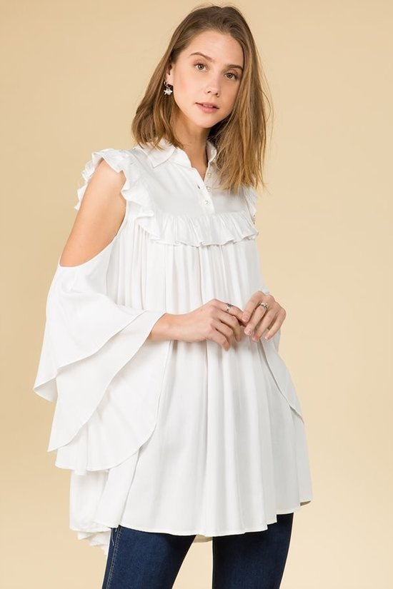 Ready To Ruffle White Bell Sleeve Top