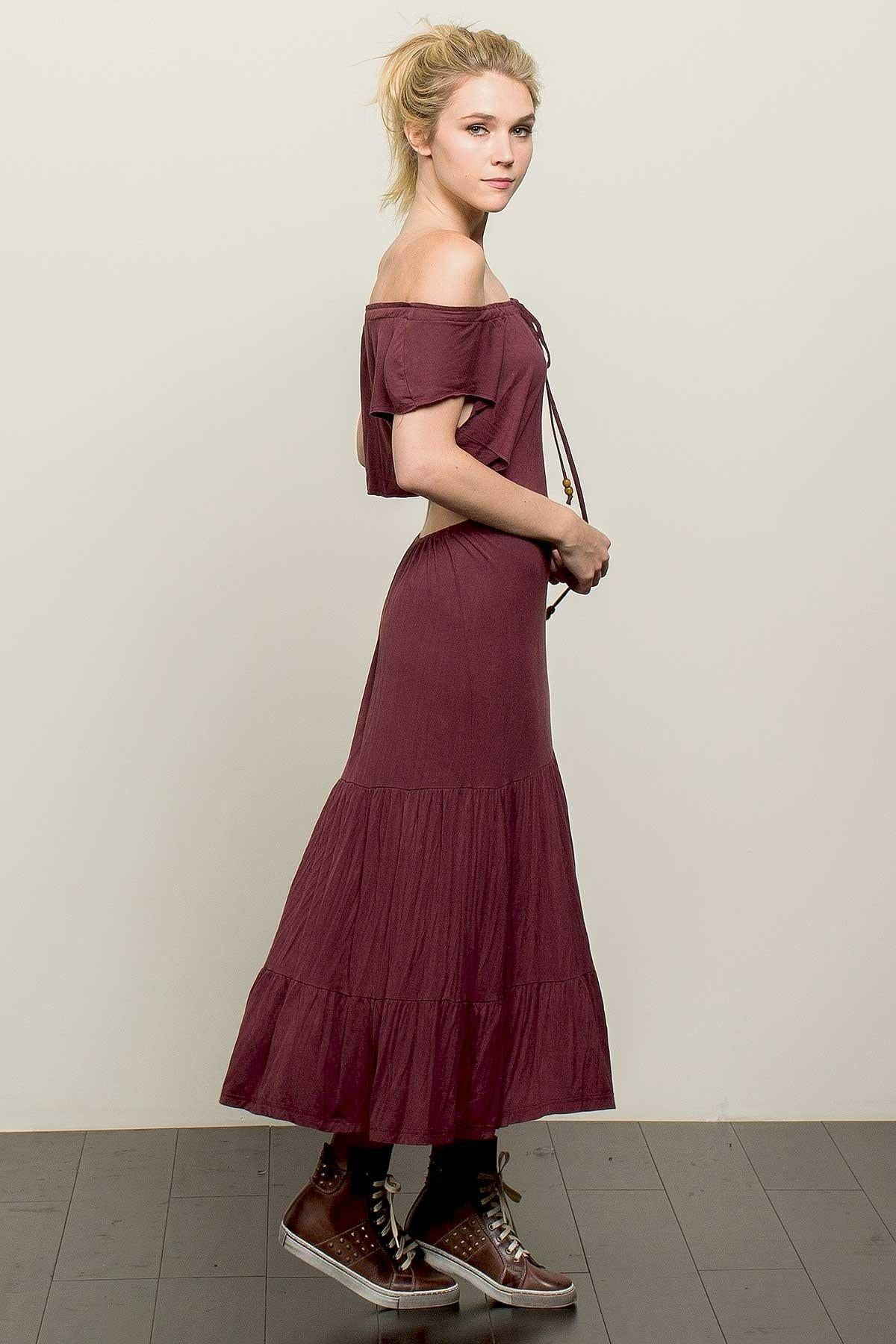 Kira Off Shoulder Boho Maxi Dress-GoGetGlam