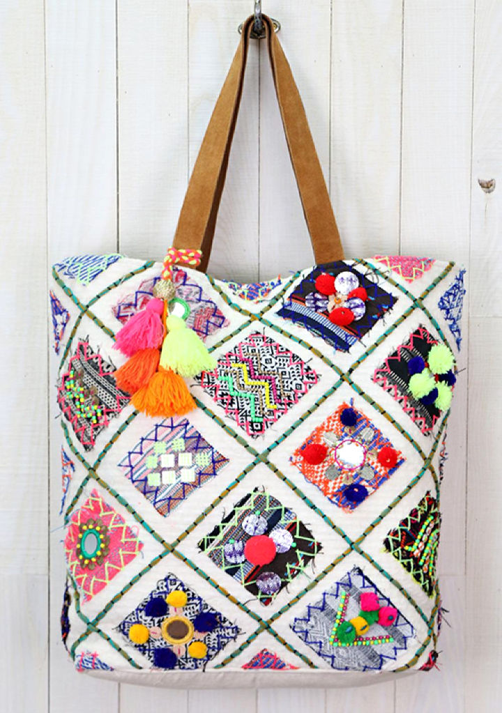 Hand-Embroidered Sari Patchwork Artisan Tote