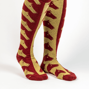 Pomegranate & Gold Escher Horse Socks