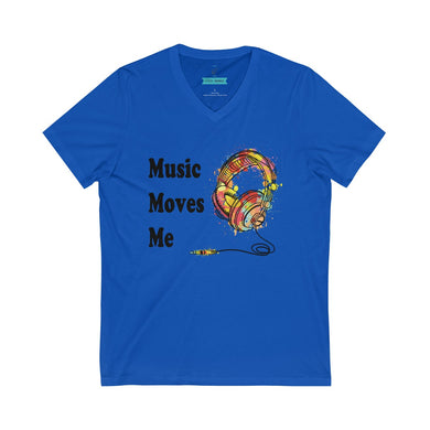 Music Moves Me | Unisex Jersey Short Sleeve V-Neck Tee