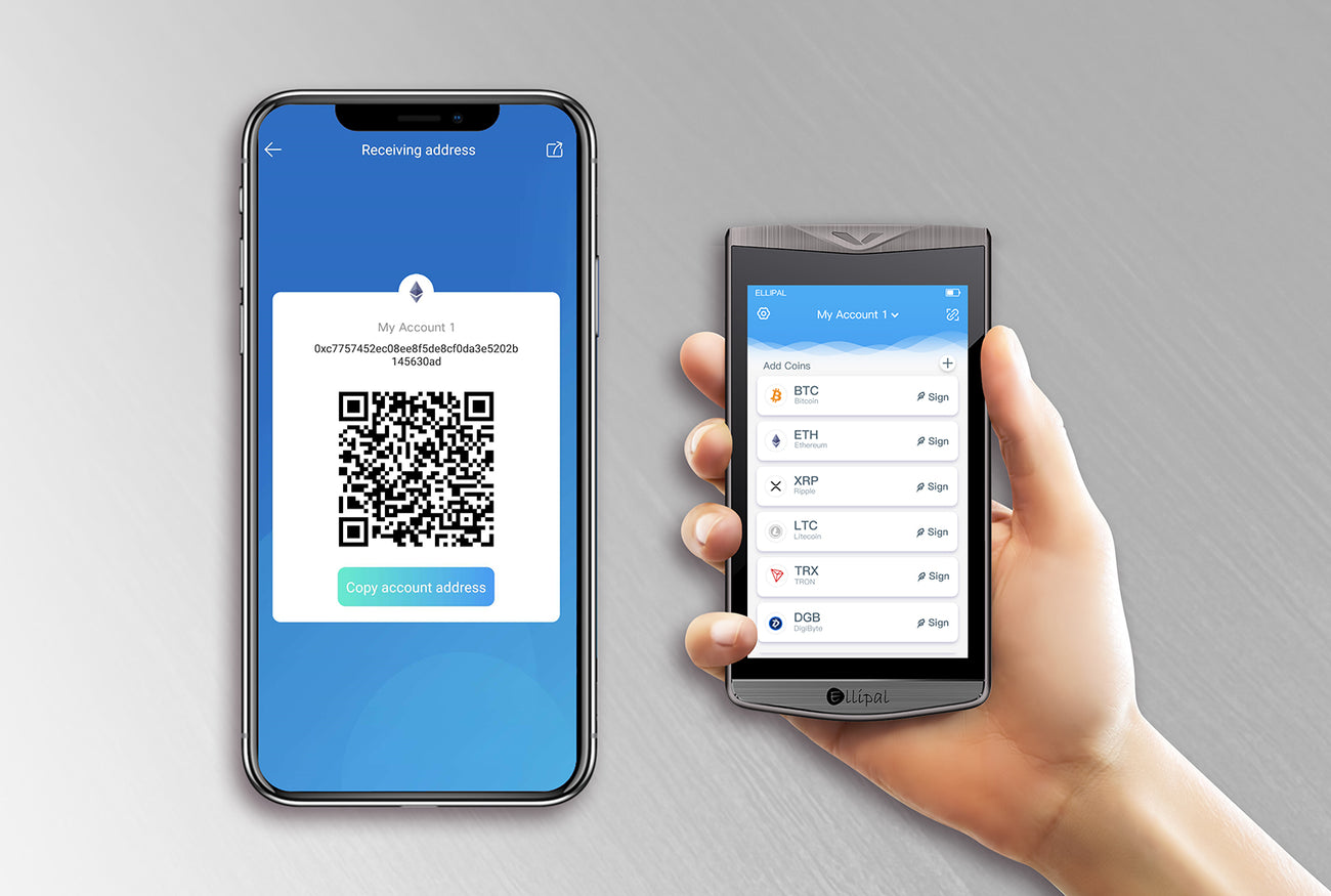 ELLIPAL hardware wallet with mobile phone App