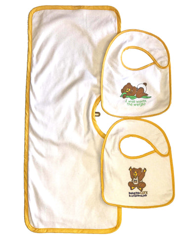 Clippy Cloth and Two Hug-A-Bib Infant Sized Bundle