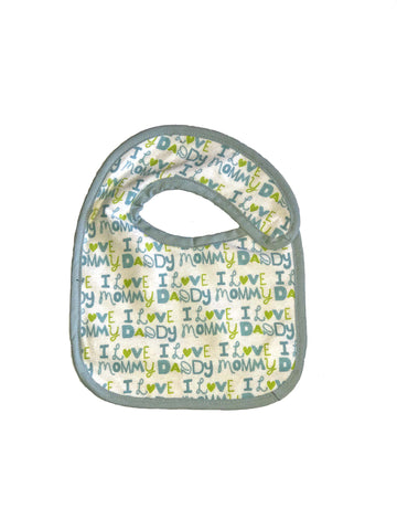 Infant sized Hug-A-Bib I heart Mommy Daddy