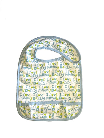 Toddler Large sized Hug-A-Bib I heart mommy daddy