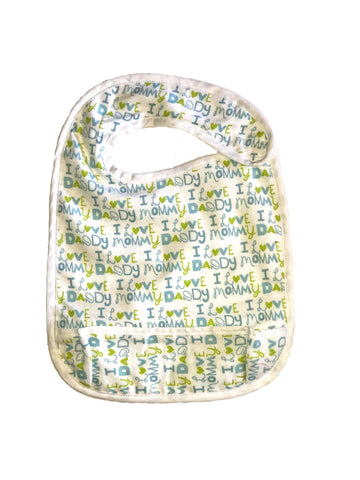 Toddler Large sized Hug-A-Bib I heart mommy daddy *white trim*
