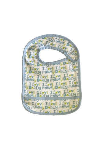 Toddler Small sized Hug-A-Bib I heart mommy daddy