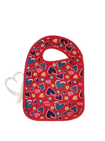 Toddler Small sized Hug-A-Bib red with hearts