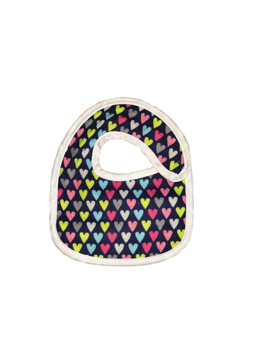 Infant sized Hug-A-Bib with colored hearts