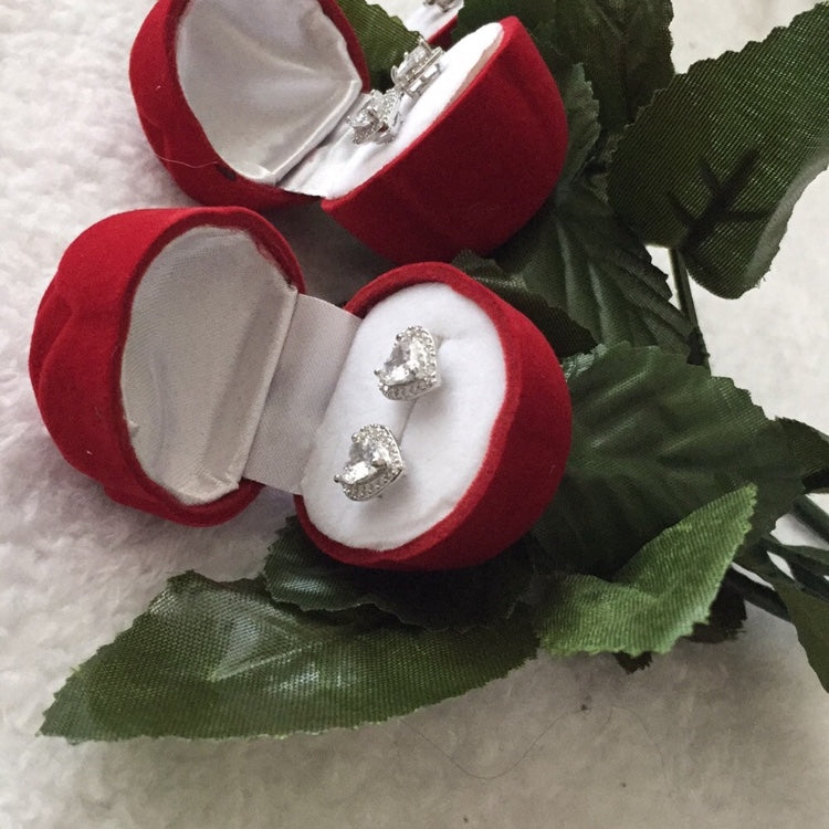 Rose with Heart Earrings