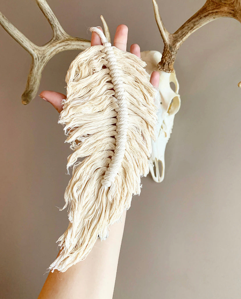 Cream Macrame Feather