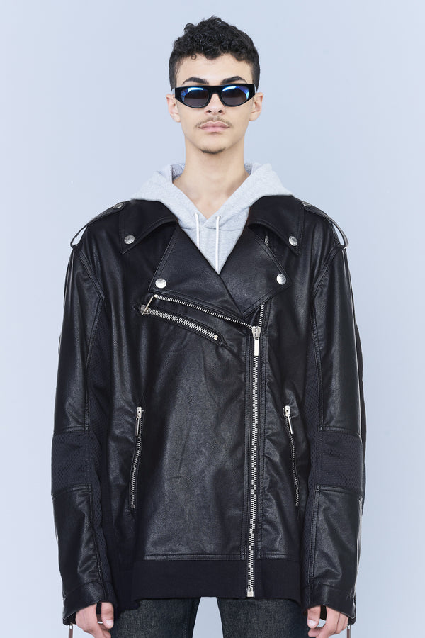 LEATHER-FINISHING BIKER JACKET