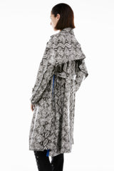 KIMONO COAT BLACK & WHITE PYTHON VEGAN LEATHER