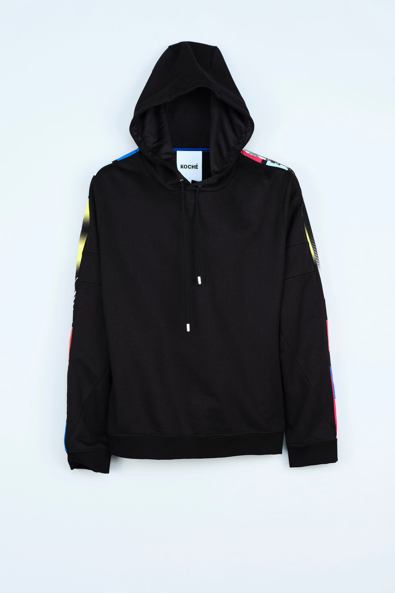 BLACK HOODED COTTON SWEATSHIRT WITH RE/KOCHÉ-INSPIRED INSERTS
