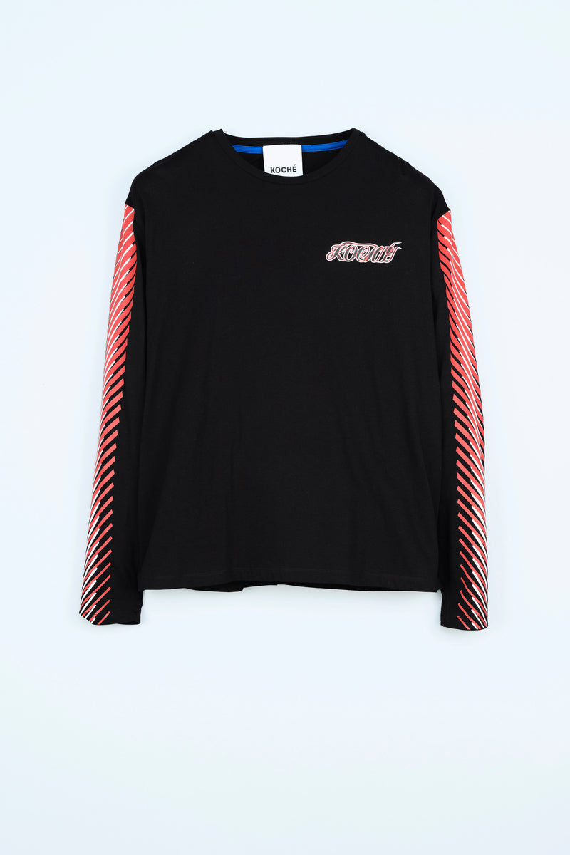 BLACK LONG-SLEEVE T-SHIRT WITH KOCHÉ LOGO