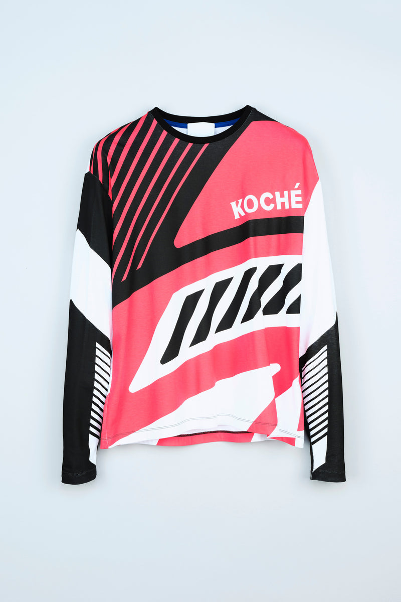 LONG-SLEEVE JERSEY T-SHIRT WITH KOCHÉ BIKER-INSPIRED GRAPHICS