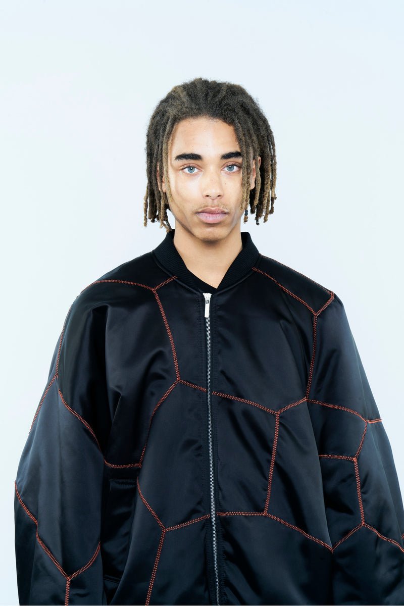 PADDED BOMBER JACKET IN SATIN