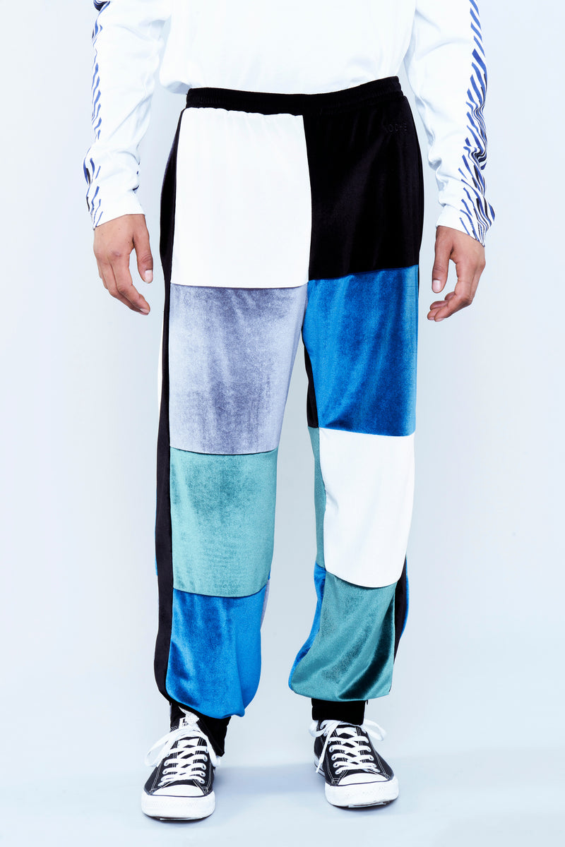 PATCHWORK-EFFECT TROUSERS IN CHENILLE
