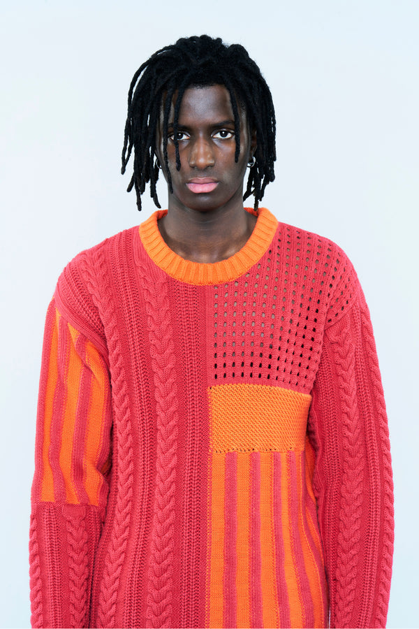 PATCHWORK-KNIT SWEATER