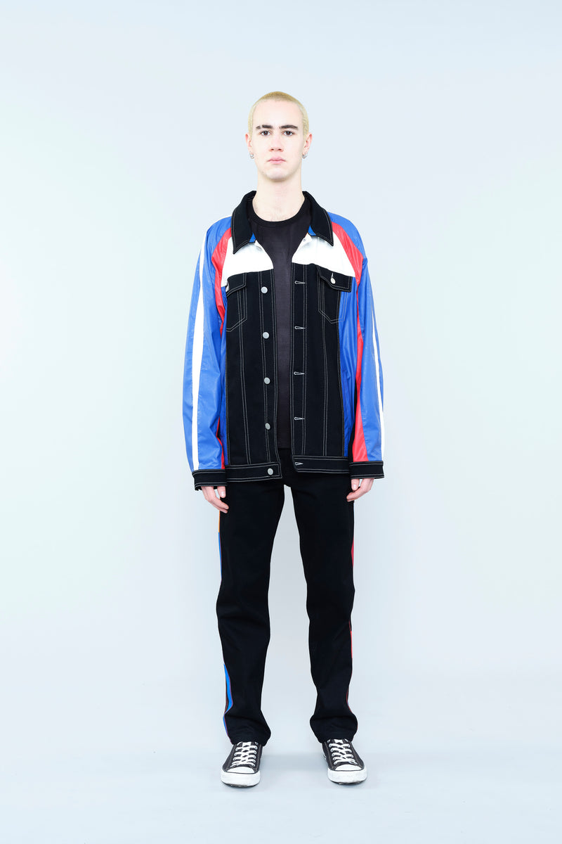 SPORTS JACKET IN DENIM WITH MULTICOLOURED LEATHER-EFFECT SLEEVES