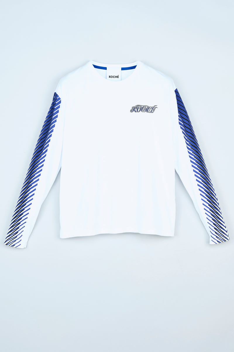 WHITE LONG-SLEEVE T-SHIRT WITH KOCHÉ LOGO