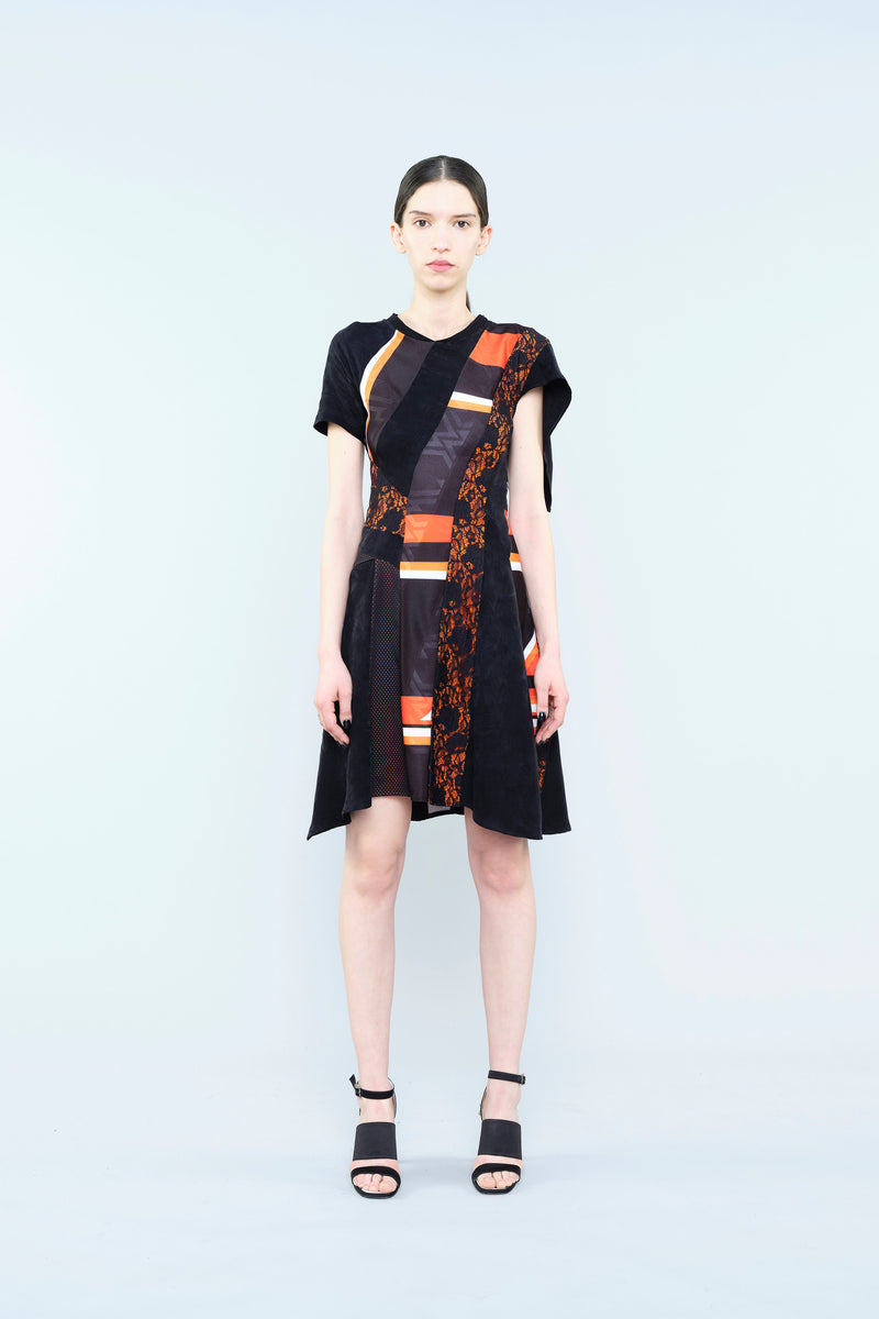 JACQUARD JERSEY DRESS WITH LACE INSERTS AND MULTICOLOR STRIPE PRINT
