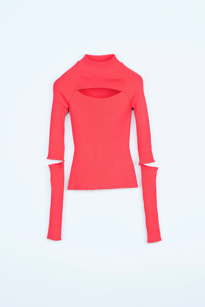 BIKER-STYLE STRETCH-VISCOSE KNITTED TOP
