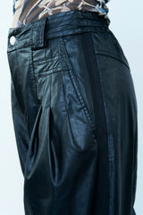 BLACK LEATHER FINISHING TROUSERS WITH DARTS
