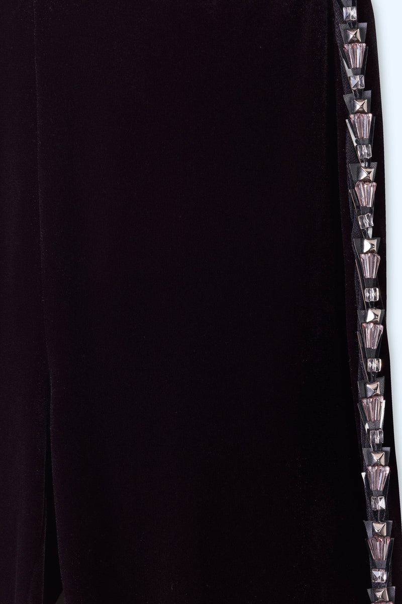 BLACK VELVET LEGGINGS WITH EMBROIDERED ON THE SIDE