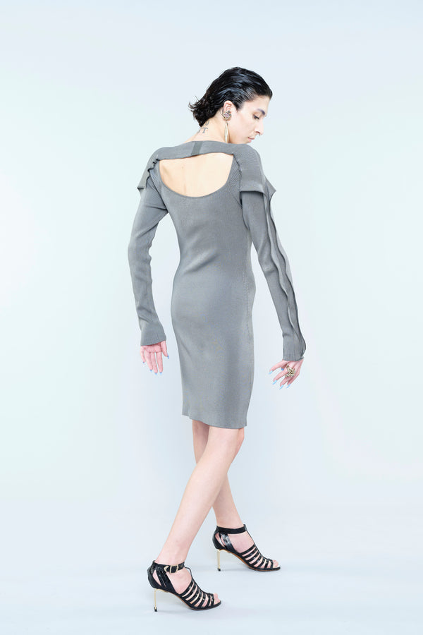 COMPACT VISCOSE STRETCH KNITTED DRESS WITH RUFFLE AND BACK OPENING