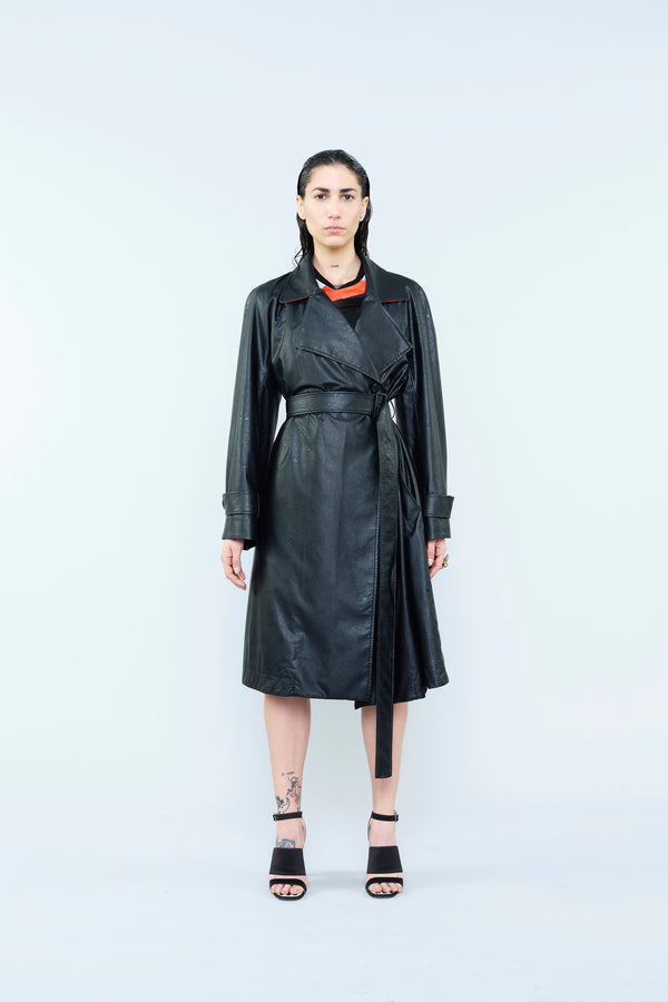 LEATHER FINISHING TRENCH COAT