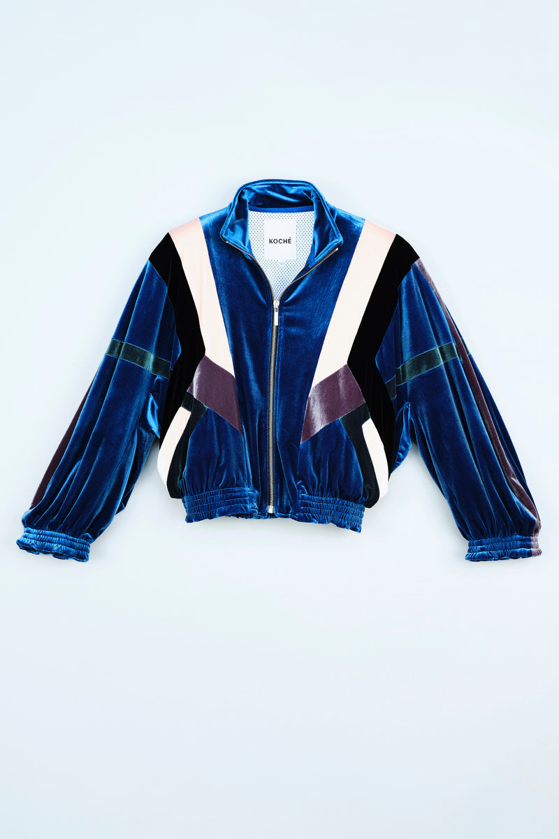 SPORTY LOOK JACKET IN VELVET COLOR BLOCK