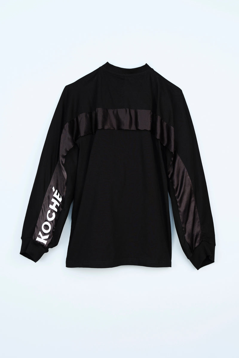 LONG SLEEVE T-SHIRT WITH THE KOCHE' LOGO ON SLEEVE AND A SATIN DETAIL ON THE BACK