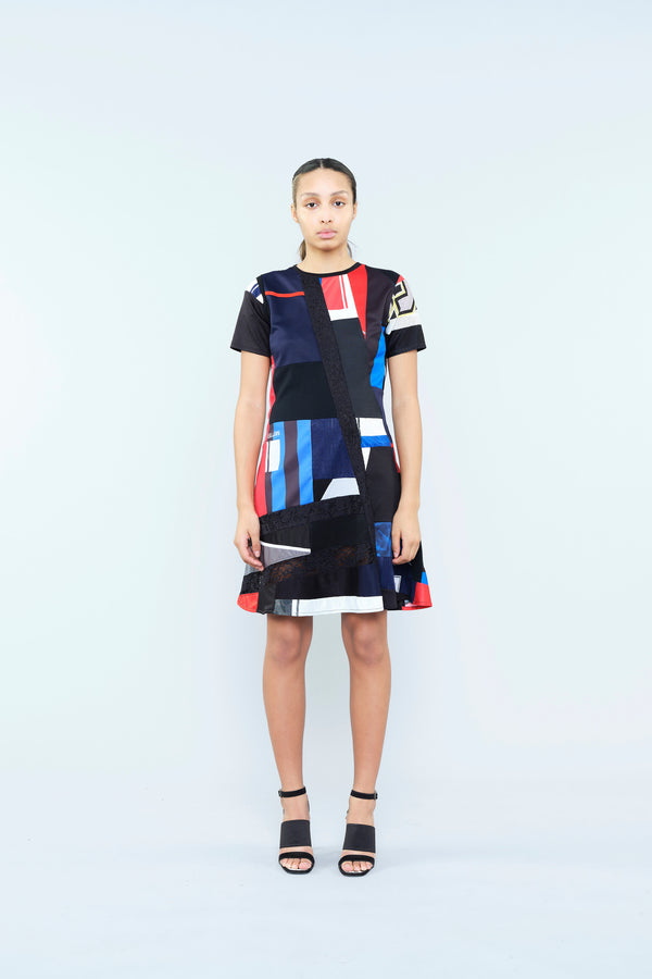 RE/KOCHÉ PATCHWORK DRESS