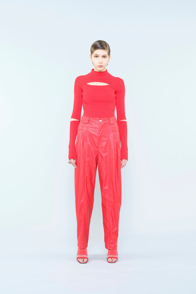 RED LEATHER FINISHING TROUSERS WITH DARTS