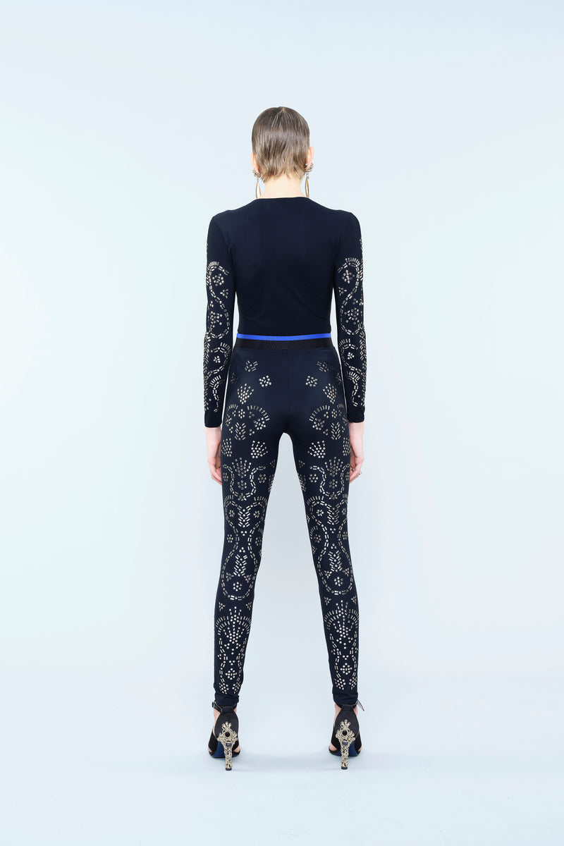 STRETCH JERSEY LEGGINGS WITH METALLIC EMBELLISHMENT