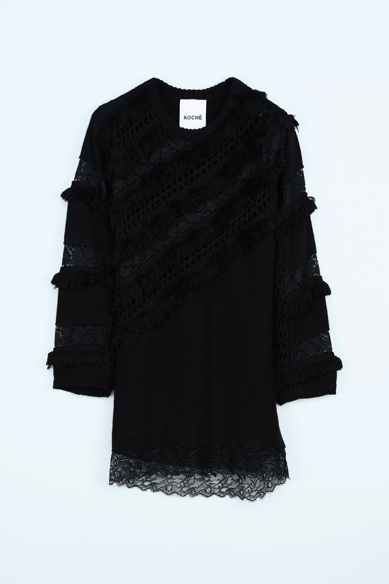 COTTON WOOL KNITTED DRESS IN A MIX OF STITCHES AND LACE INLAYS