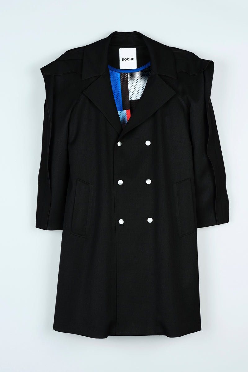 TRENCH COAT WITH LINED RUFFLE SLEEVES
