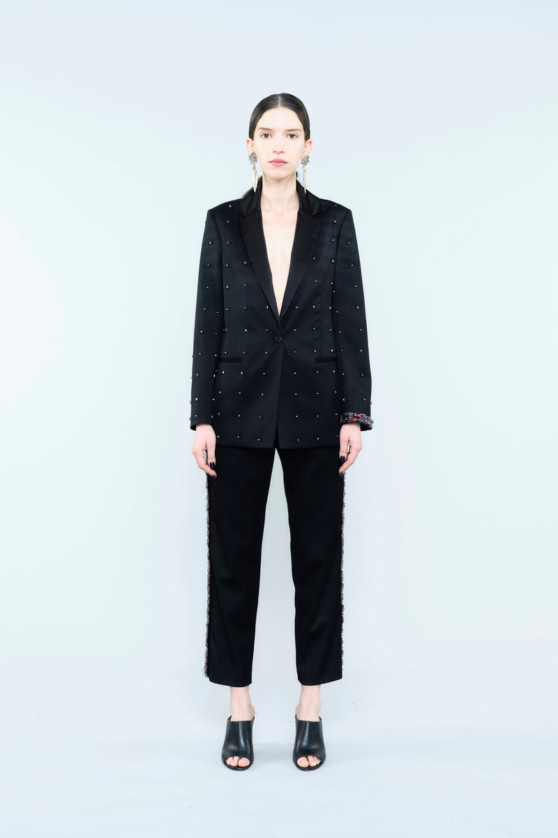 TUXEDO JACKET WITH ALL-OVER DIAMANTE DETAILING
