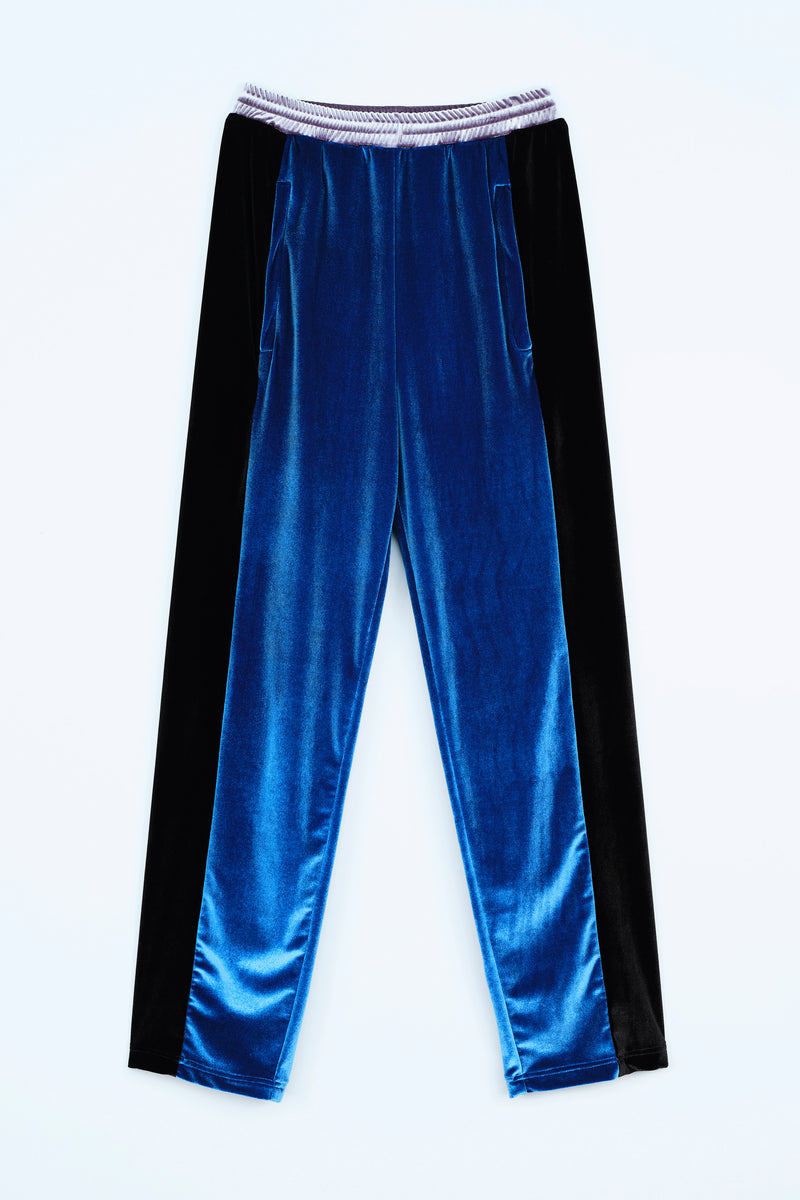 SPORTY LOOK TROUSERS IN VELVET COLOR BLOCK