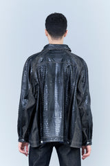 CROCODILE LEATHER-FINISHING JEAN JACKET