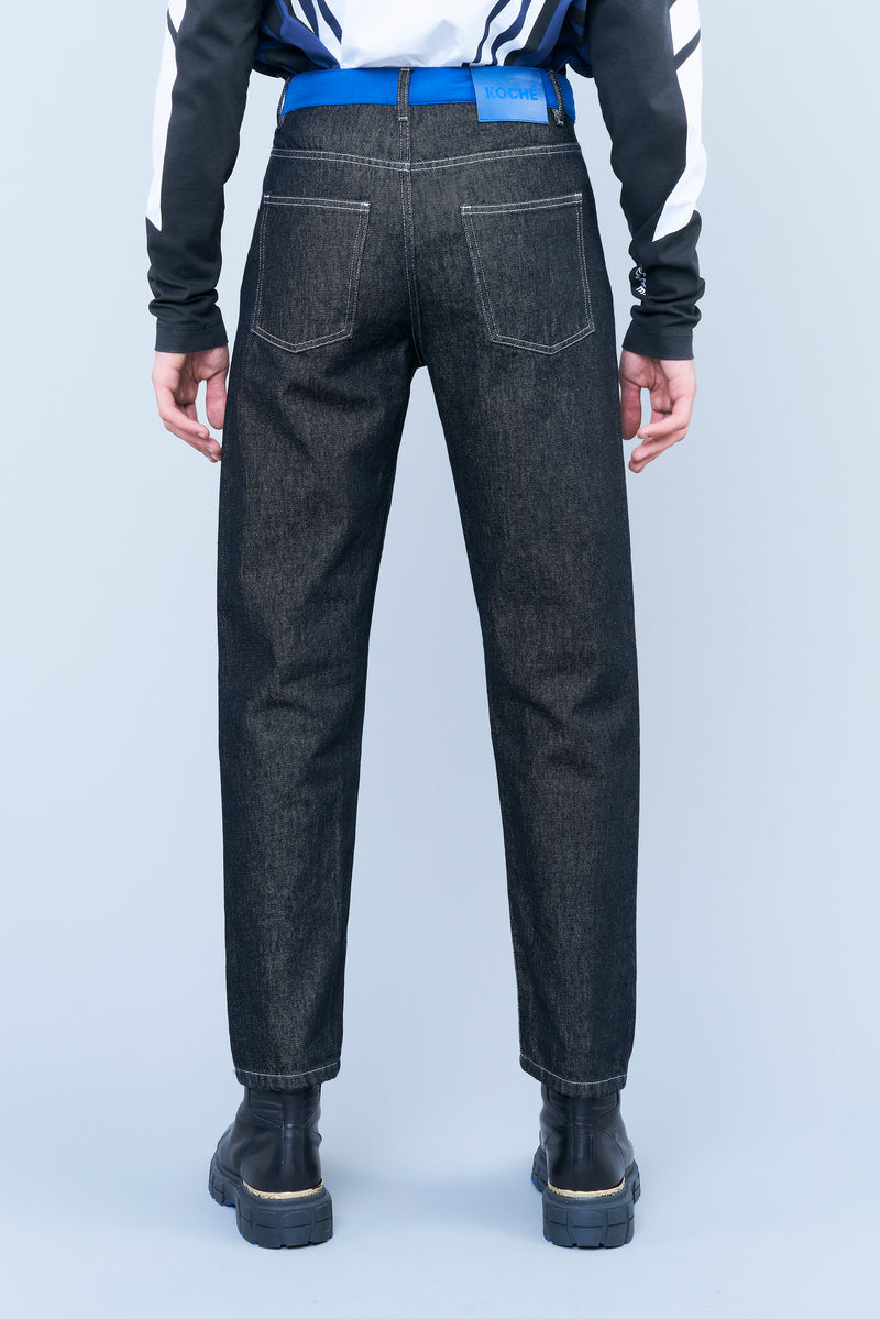 FIVE-POCKET BLACK DENIM JEANS