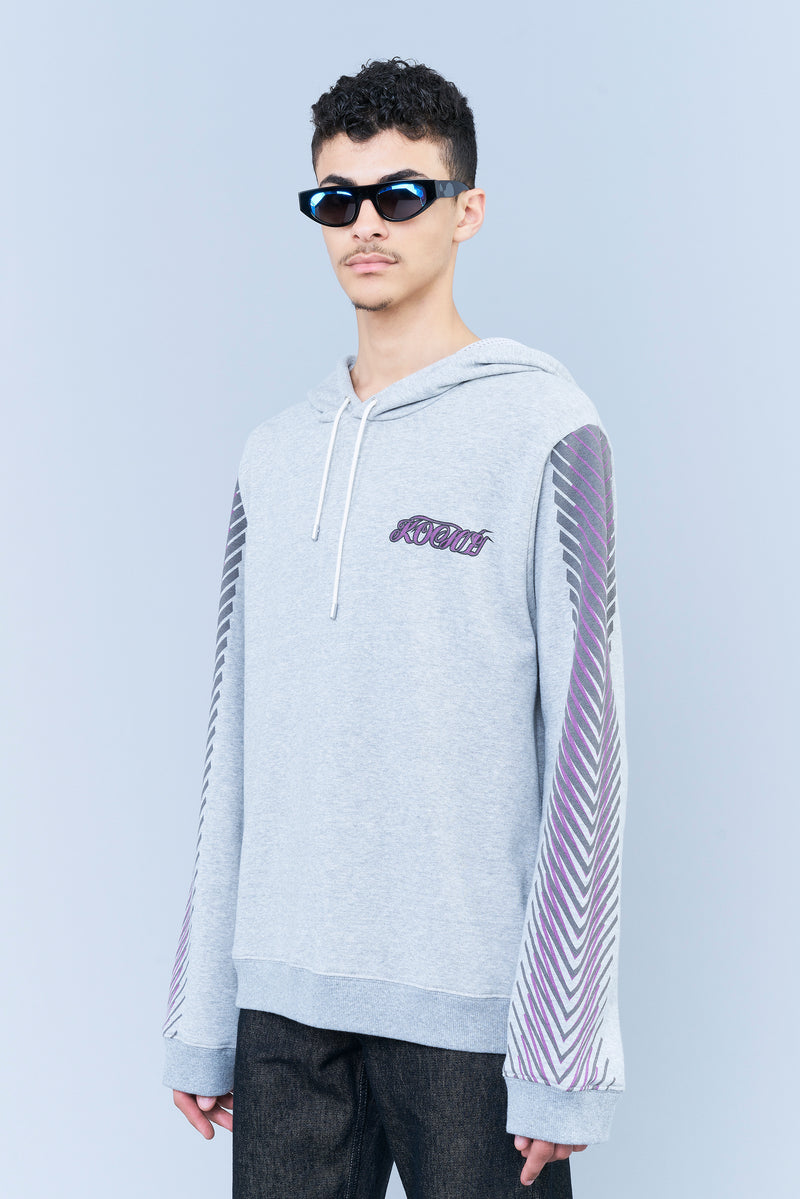 GREY HOODED COTTON SWEATSHIRT WITH KOCHÉ LOGO