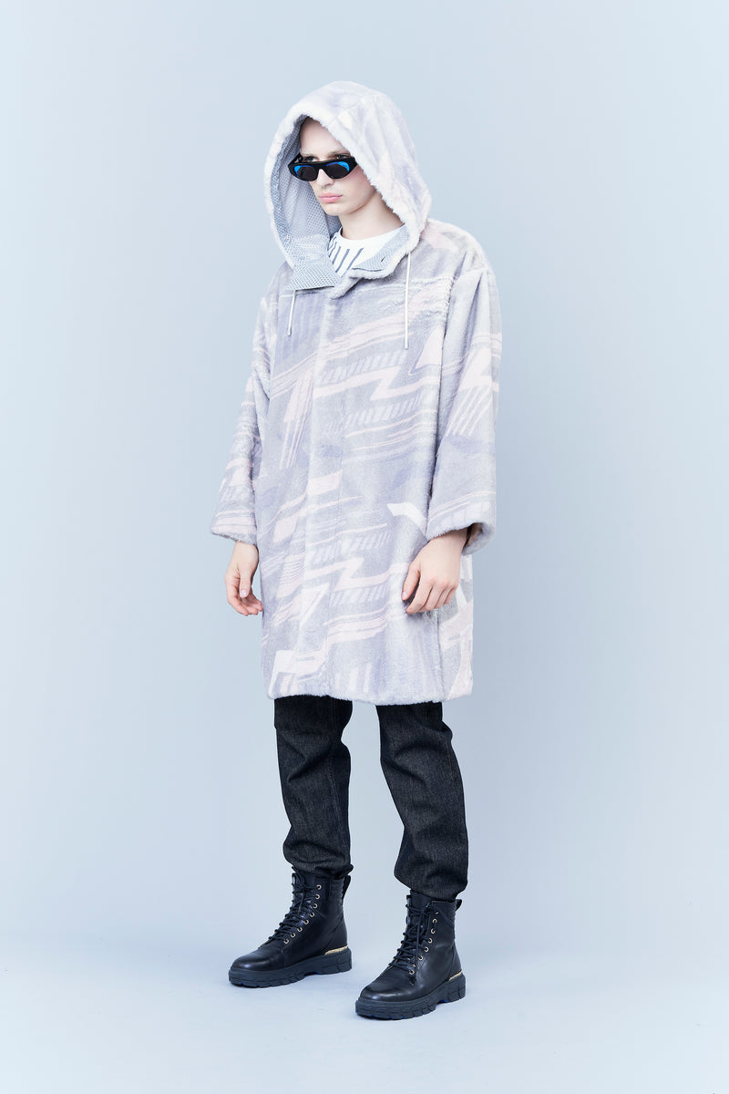 HOODED SYNTHETIC FUR PARKA