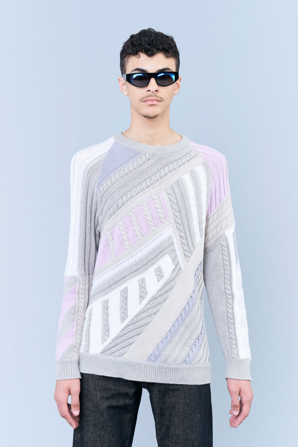 INLAID TRICOT SWEATER WITH GEOMETRIC PATTERN