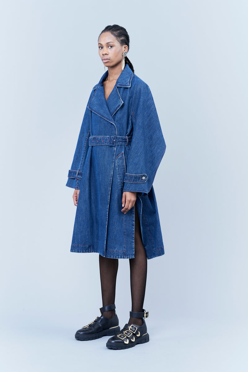 BLUE DENIM TRENCH COAT