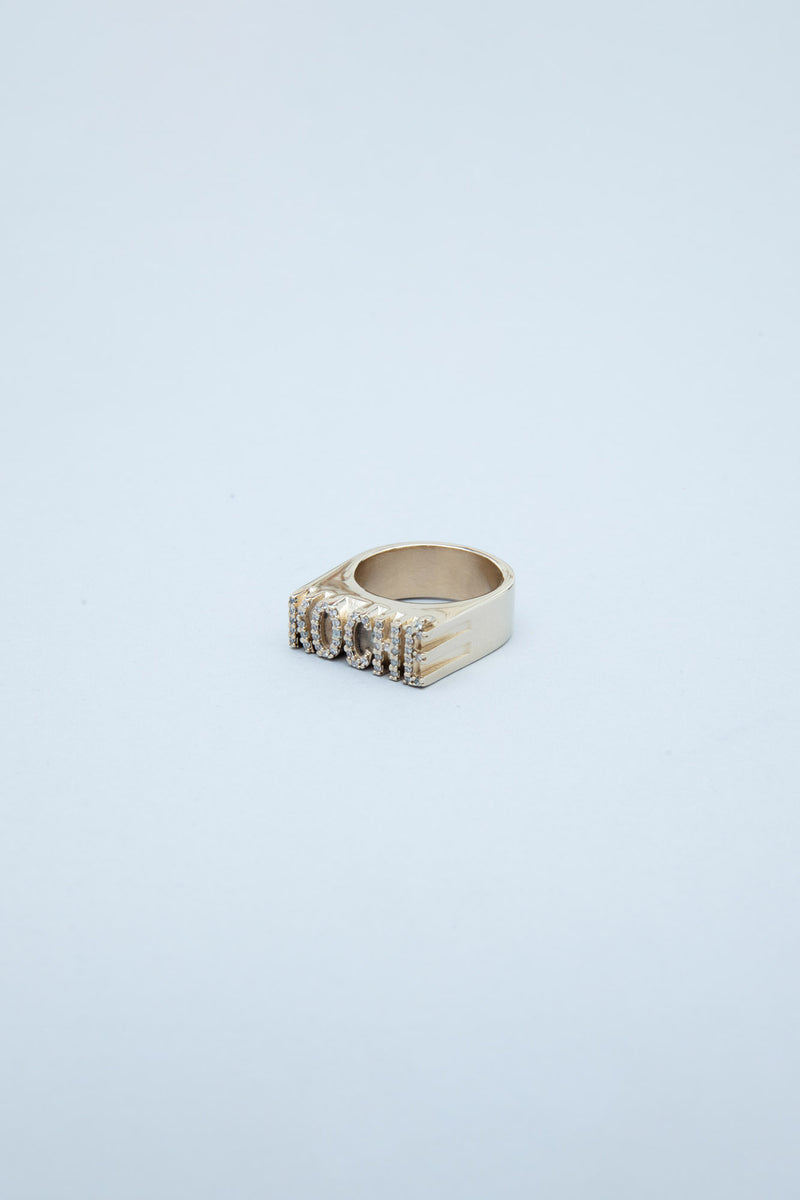 BRASS AND CRYSTALS RING WITH KOCHÉ LOGO