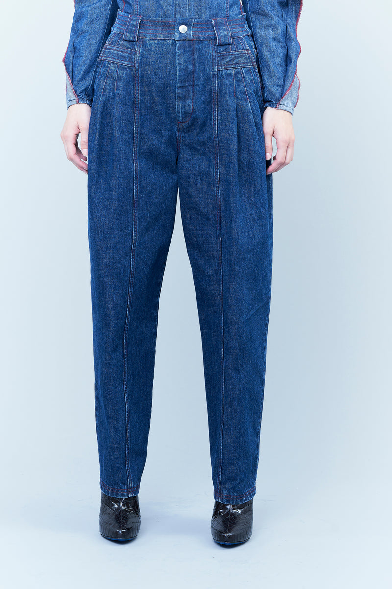 DENIM HIGH-WAISTED TROUSERS