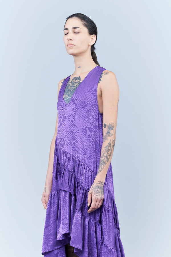 JACQUARD VISCOSE DRESS WITH REPTILE DESIGN