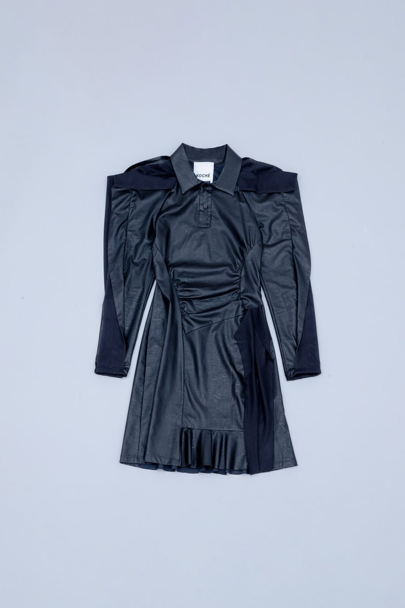LEATHER-FINISHING DRESS WITH RUFFLES